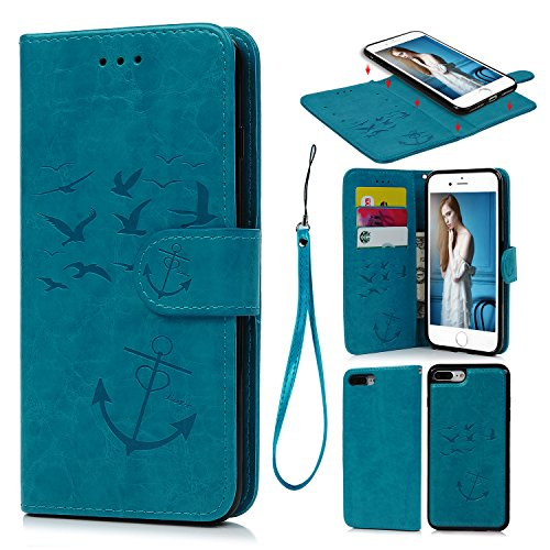 iPhone 8 Plus Case, iPhone 7 Plus Case PU Leather Wallet Case Embossed Oil Wax Seagull Anchor Cover Detachable Magnetic Flip Card Slots for iPhone 7 Plus & iPhone 8 Plus Blue Review