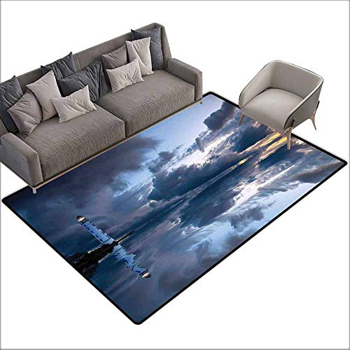 Floor Mats for Living Room Lighthouse Decor,Lighthouse Sailing Dark Clouds Reflection on Atlantic Ccean Rainy Weather Shadow 80
