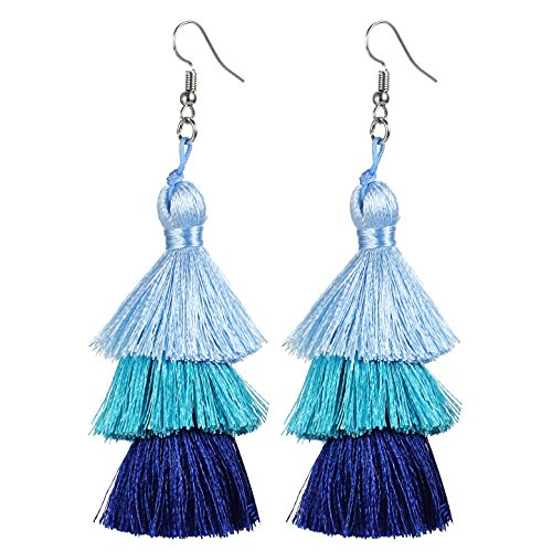 Tassel Earrings Thread Tiered Tassel Dangle Earrings Statement Layered Tassel Drop Earrings for Women Girls