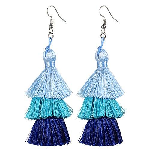 Tassel Earrings Thread Tiered Tassel Dangle Earrings Statement Layered Tassel Drop Earrings for Women Girls