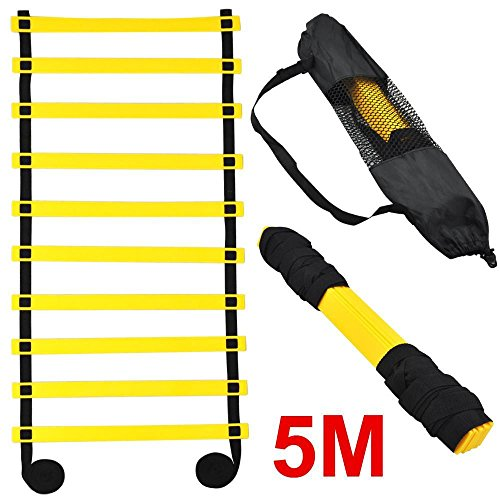Topeakmart 5M 10-rung Sports Agility Ladder Agility Training Ladder Speed Flat Rung with Carrying Bag -