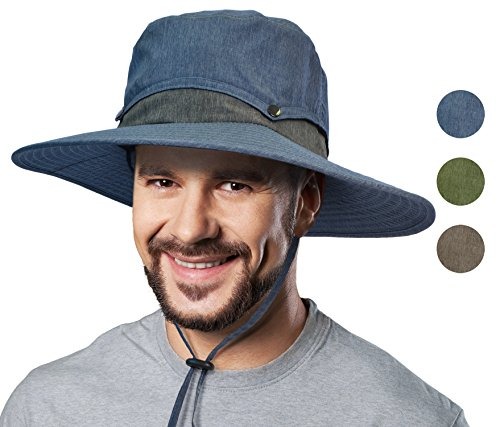 Outdoor Sun Protection Hat Wide Brim Fishing Safari Cap w/Collapsible Crown (Overall Protection)
