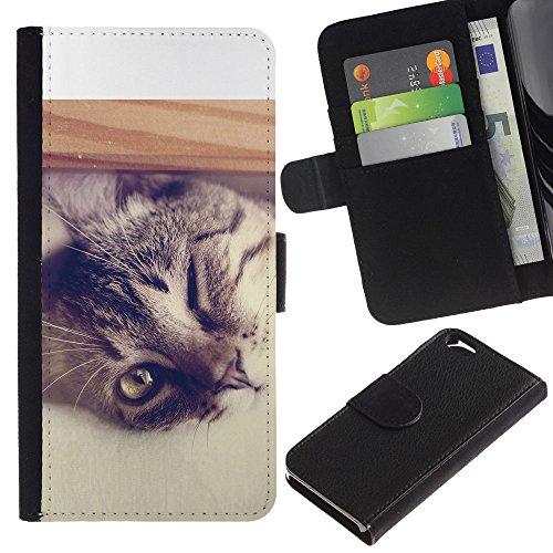 EuroCase - Apple Iphone 6 4.7 - Cool Cat - Cuir PU Coverture Shell Armure Coque Coq Cas Etui Housse Case Cover
