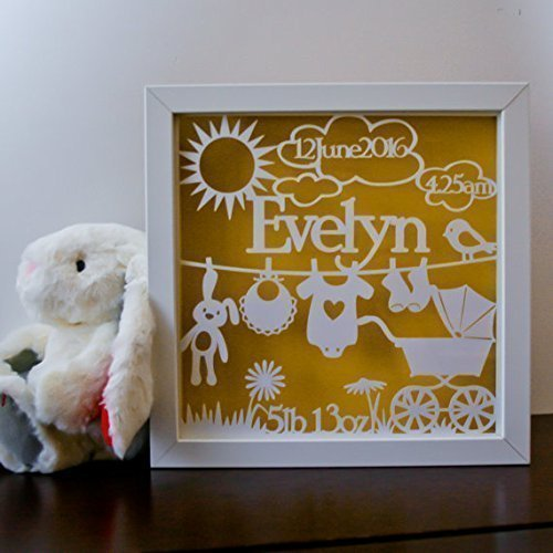 framed baby name papercut personalised nursery wall art