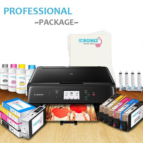 (Icinginks Edible Picture Printer System – Includes Canon Edible Printer for Cakes, Icing Sheets, Edible Cartridges, Refill Inks & Kit, and Cleaning Cartridges – Best Edible Bakery Printer Package)