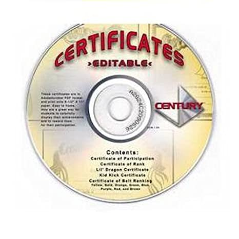 cd rom with martial arts certificate of rank