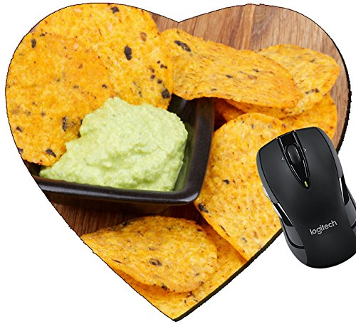 MSD Mousepad Heart Shaped Mouse Pads/Mat design 24933306 Arrangement of Tortilla Chips and Guacamole Sauce in Black Bowl closeup on Wooden - Sale For Tortis
