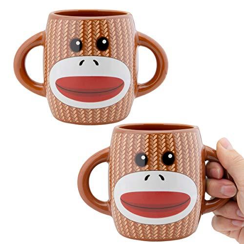 Galerie (2 pack) Sock Monkey Coffee Mug Set Two-Handled Ceramic Mugs Novelty Gifts Microwave & Dishwasher Safe