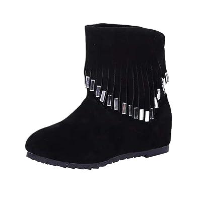 64385299d9c SANFASHION Moderne Femme Bottes Plates Basses Slip-on Tassel Bottines  Chaussures Daim Cuir Synthétique Boots
