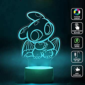 CMLART How To Train Your Dragon Toothless 3d Lamp Night 7 Color Change Best Gift Night Light LED Furnish Desk Table Lighting Home Decoration Toys
