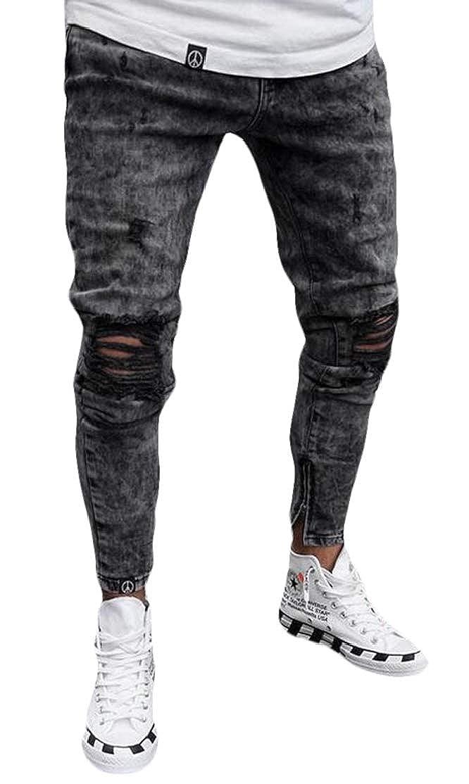 BU2H Men Low Waist Skinny Fit Slim-Tapered Ripped Distressed Stretch Jeans Denim Pants
