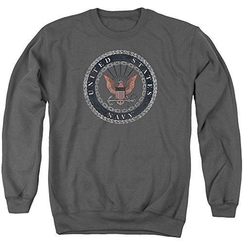 NAVY Rough Emblem Nautical Rope and Chain US Adult Crewneck Sweatshirt