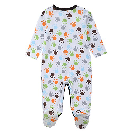 3 Pack Baby Boys Footed Pajamas Sleep Overall Long Sleeve Rompers Sleeper (9-12 Months, No6)