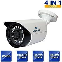 Outdoor Security Camera,2MP 4-in-1 HD TVI/CVI/AHD/960H 1080P Bullet Camera 3.6mm Lens