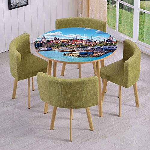 Round Table/Wall/Floor Decal Strikers/Removable/Scenic Summer of Old City and Sea Port in Harbor Estonia Historical Heritage Print/for Living Room/Kitchens/Office Decoration