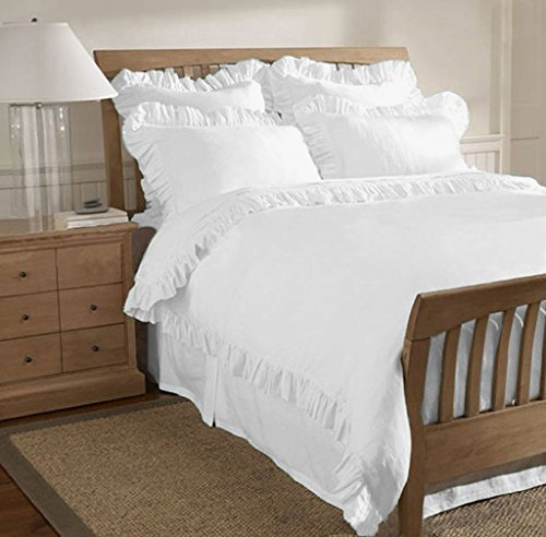 800 TC Egyptian Cotton 3 Piece Edge Ruffle Traditional Duvet Cover Set King (Ruffle Duvet Covers)