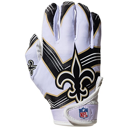 NFL New Orleans Saints Youth Receiver Gloves,White,Medium