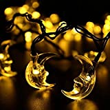 TOPCHANCES Solar String Lights, 15ft 20 LED Solar Powered String Lights for Gardens,Christmas,Wedding,Holiday and Party Decorations (Moon, Warm White)