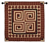 Log Cabin Burgundy Wall Hanging Quilt 44 Inches by 44 Inches 100% Cotton Handmade Hand Quilted Heirloom Quality