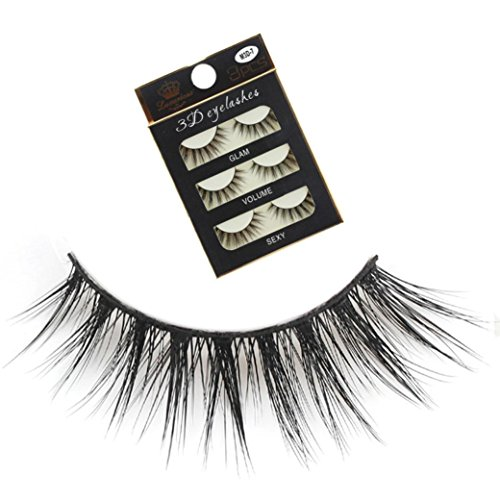 False Eyelashes Party Makeup - 3 Pairs Thick Long Cross Party False Eyelashes Black Band Fake Eye Lashes (G)