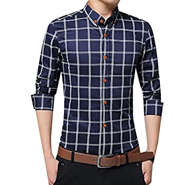 M2MO Mens Casual Slim Fit Long Sleeve Plaid Button Down Cotton Shirt