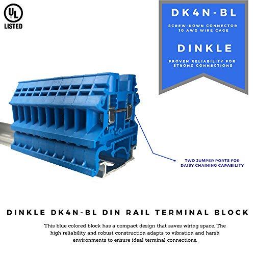 [해외구매대행 $35 89] Dinkle Blue DK4N-BL DIN Rail Terminal Block Screw Type UL  600V 30A 10-22AWG, Pack of 100