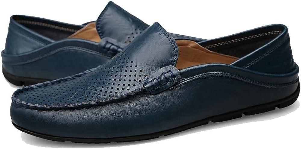 Unitysow Mocassins Homme /Ét/é Loafers Cuir Mode Respirant Chaussures de Conduite Plat Fl/âneurs Chaussures D/écontract/ées Slip on Grande Taille Bleu 42EU