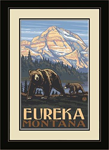Northwest Art Mall PAL-3688 MFGDM Eureka Montana Rockies Grizzly Bears Framed Wall Art by Artist Paul A. Lanquist, 13