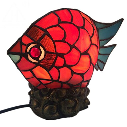 Tiffany Style Desk Lamp, 11 inch European Retro Creative Goldfish Night Light, Wedding Gifts Bedroom Bedside Decorative Table Lamp E27(Without light (Stained Glass Night Light Patterns)