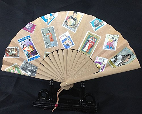 [Folding Hand Fan, Postage Stamps theme. Handmade costume fan. Ready to Ship. Fits in your handbag.] (Fan Costumes)