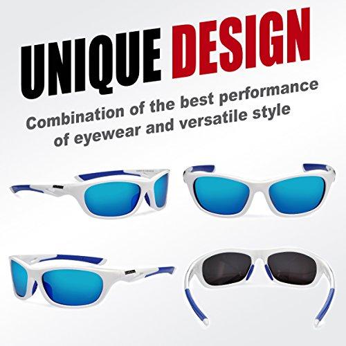 Duduma Polarized Sports Sunglasses for Men Women Baseball Running Cycling Fishing Driving Golf Unbreakable Frame Du646(White frame with blue lens)