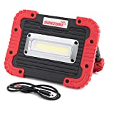 10W COB LED Work Light FloodLights 750 Lumens Outdoor Camping Spotlights Searchlight Built-in Rechargeable Lithium Batteries Light Lamp With USB Ports to charge Mobile Devices and Special SOS (Red)