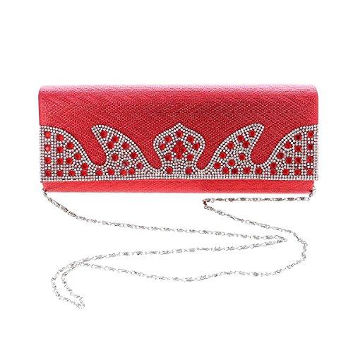 Crystal Flap Evening Wave Textured Womens Bag Gold Damara Clutch qwtpBn