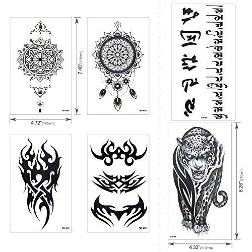 Full Arm Temporary Tattoo, Konsait Extra Temporary Tattoo Black tattoo Body Stickers for Man Women (18 Sheets) by Konsait (Image #2)
