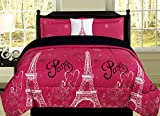 Twin Paris Comforter Pink Black White Eiffel Tower Bedding and Sheet 6 Piece Bed in a Bag Set