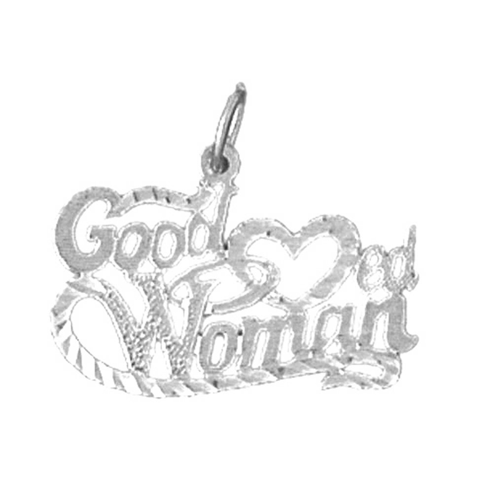 Rhodium-plated 925 Silver Good Hearted Women Saying Pendant with 30 Necklace Jewels Obsession Saying Necklace