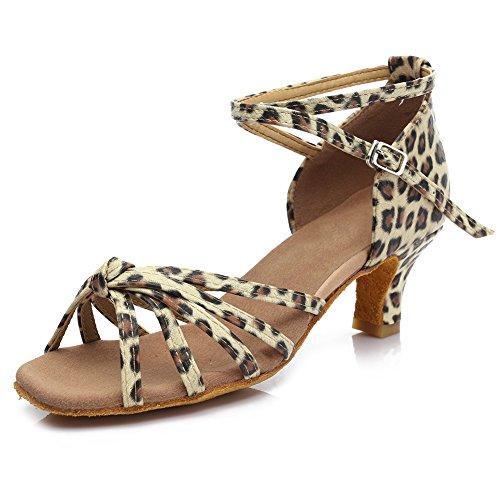 ES217 Leopardo Baile Modelo Tacón Mujer para 5CM Zapatillas HIPPOSEUS de 5cm Altura Satén 7CM Latino del ZqwOBHE