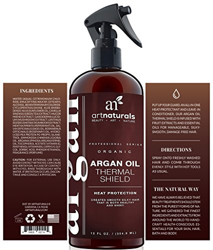 ArtNaturals Thermal Hair Protector Spray - 8.0 Oz - Protective Spray against Flat Iron Heat - Contains 100% Organic Argan Oil Preventing Damage, Breakage & Split Ends - Made in the USA - Sulfate Free by ArtNaturals (Image #1)