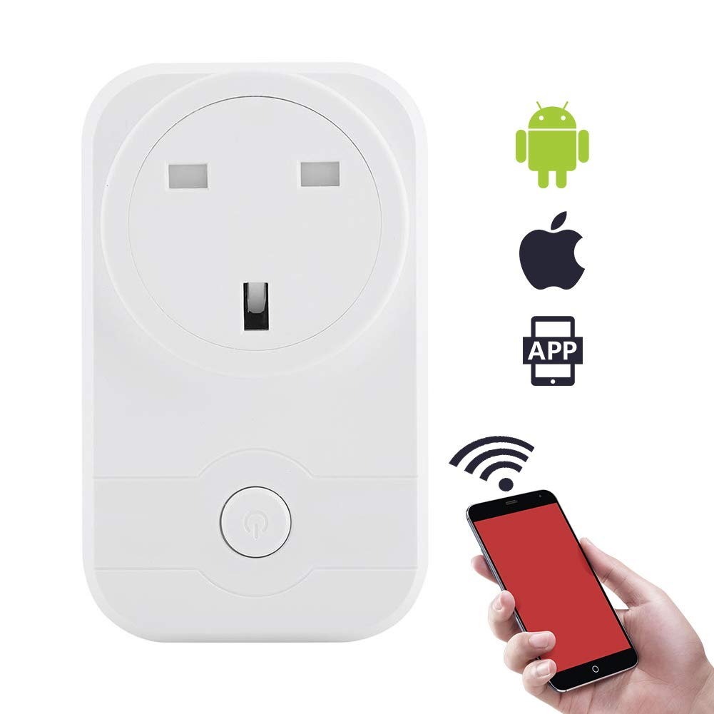 Garsent Wifi Smart Plug, Smart Control By Smartphone, Energy Saving Assistant No Hub Required, Working with  Alexa/Google Home with USB Interface Control Devices from Anywhere.(White)