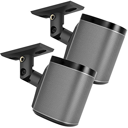 PERLESMITH Speaker Mount, Side Clamping Speaker, Mounting Bracket with Swivel and Tilt for Large Surround Sound Speakers – 1 Pair – Suitable for Walls – Holds up to 8lbs