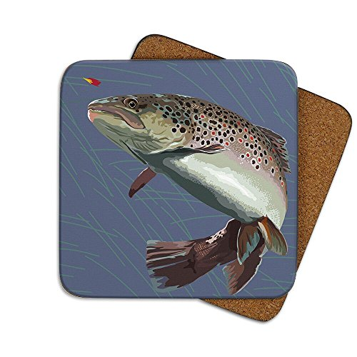 Leslie Gerry LGCOA024 Single Coaster Brown Trout Fish