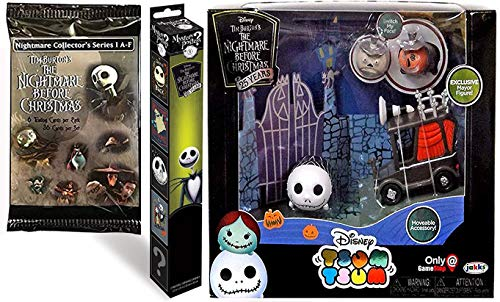 Seriously Spooky Nightmare Before Christmas Mini NBX Posters Bundled with + Gift Set Bundle Jack Skellington Tsum Tsum Exclusive Character Pack Mayor & Faces and moveable car + Trading Cards 3 Items