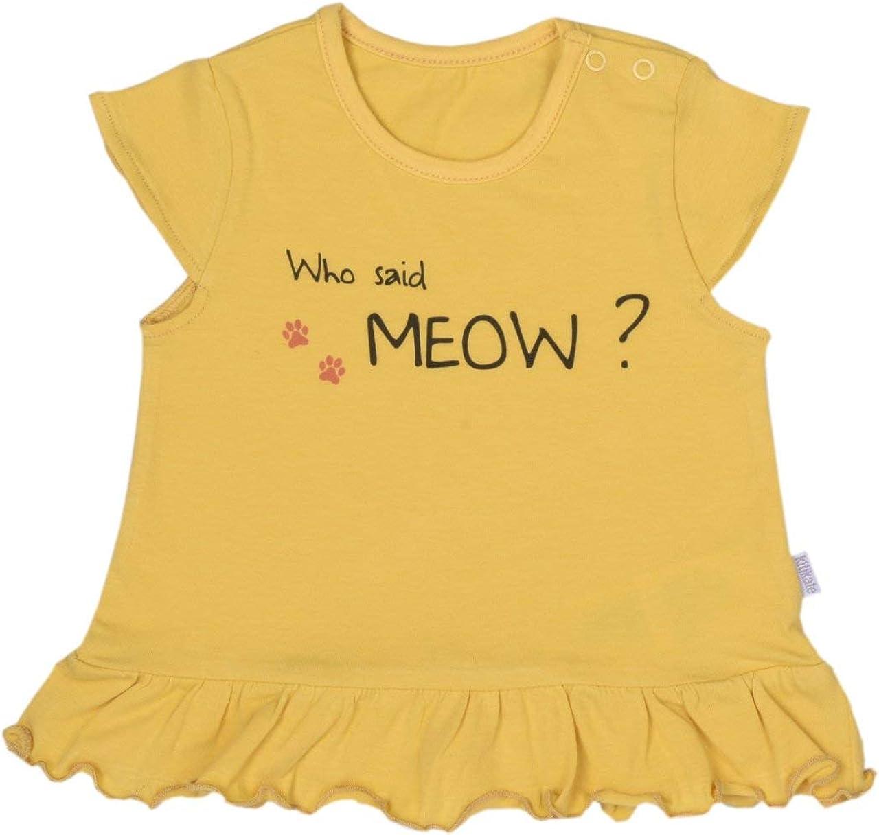Kitikate 100% Organic Cotton Baby Girl Sleeveless Ruffle Meow T-Shirt, GOTS, Yellow