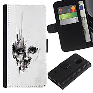 All Phone Most Case / Oferta Especial Cáscara Funda de cuero Monedero Cubierta de proteccion Caso / Wallet Case for Samsung Galaxy S5 V SM-G900 // Watercolor Deep Face White