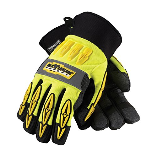 Maximum Safety 120-4070/XL Mad Max Thermo Professional Winter Workmans Gloves with Synthetic Leather Palm and Thinsulate Lining, Lime Yellow/Black, X-Large, 1-Pair
