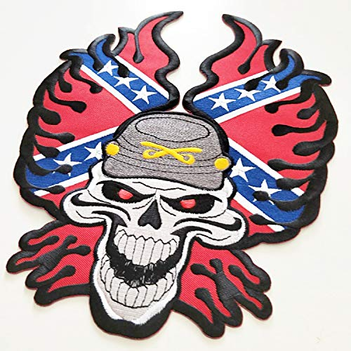 Fire Red Embroidered Patch Large Skull Biker Iron Skeleton Rider Motorcycle Rocker Chopper Devil Flaming Appliqued Hippie Hot On Your Jacket Jeans New10.00