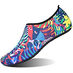 JIASUQI Unisex Athletic Water Shoes For Women Men Beach Swimming Red Green US 7.5-8.5 Women, 6.5-7.5 Men