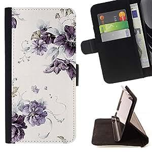 Momo Phone Case / Flip Funda de Cuero Case Cover - Lilac Purple Wallpaper Vintage rústico - Samsung Galaxy S6 EDGE