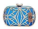 KISS GOLD(TM) Exquisite Faux Leather Metal Hollow Designer Clutch Bag Evening Handbags (Model A-Blue)