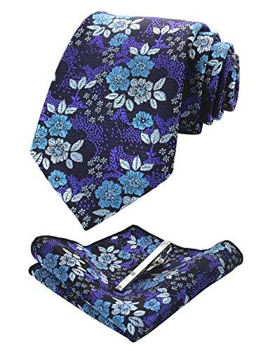 JEMYGINS Silk Blue Floral Necktie and Pocket Square, Hankerchief and Tie Bar Clip Sets for Men ()